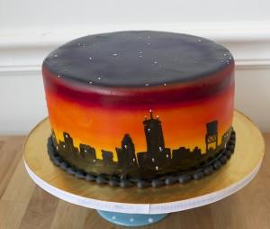 Boston Skyline Airbrushing Cake Class